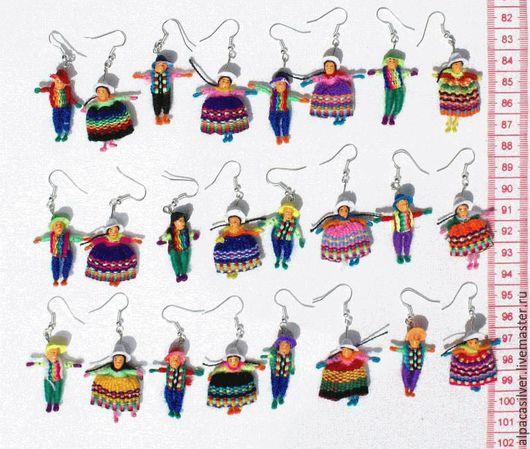 Серьги ручной работы. Ярмарка Мастеров - ручная работа. Купить Серёжки из ткани в виде кукол: мужчина и женщина. Handmade. Комбинированный
