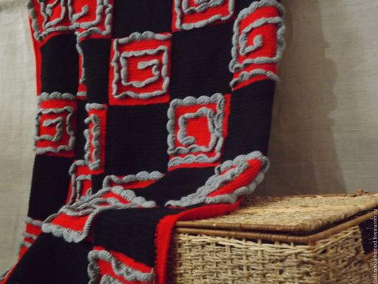 Текстиль, ковры ручной работы. Ярмарка Мастеров - ручная работа. Купить Вязаный плед ВИ-68. Handmade. Ярко-красный