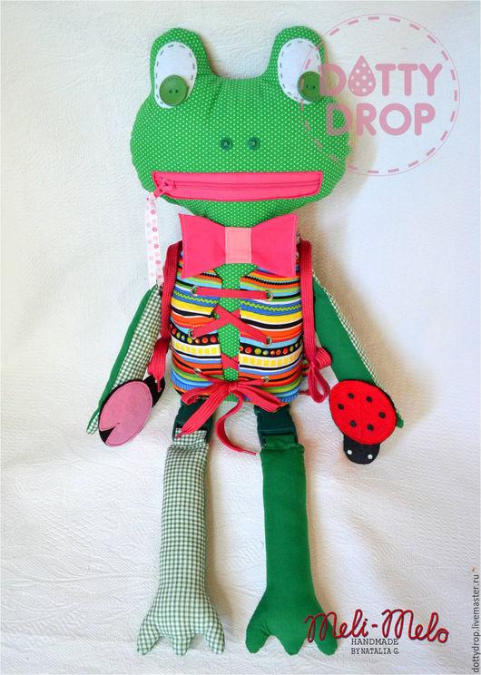 Развивающие игрушки ручной работы. Ярмарка Мастеров - ручная работа. Купить Лягушка с застёжками (вариант для девочки).. Handmade. Зеленый