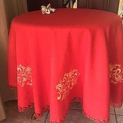 Для дома и интерьера handmade. Livemaster - original item Red linen tablecloth with embroidery