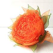 Украшения handmade. Livemaster - original item Bracelet with flower made of fabric. Bright orange rose.. Handmade.