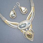 Украшения handmade. Livemaster - original item Set jewelry leather Agate(agate and Timan agate). Handmade.