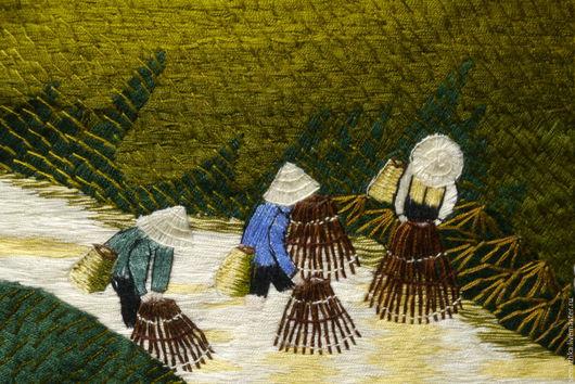 Люди, ручной работы. Ярмарка Мастеров - ручная работа. Купить Вьетнамские мотивы. Handmade. Комбинированный, Вышивка гладью, восточные мотивы