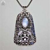 Украшения handmade. Livemaster - original item Pendant-amulet moonstone, agate crackle, handmade. Handmade.