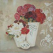 """Картины и панно ручной работы. Ярмарка Мастеров - ручная работа Картины - панно парные  """"Винтажный натюрморт"""" цветы, бабочки и птицы. Handmade."""