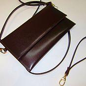 Сумки и аксессуары handmade. Livemaster - original item Little chocolate clutch bag with hand strap. Genuine leather. Handmade.