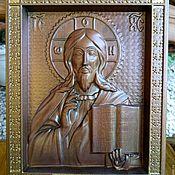 Картины и панно handmade. Livemaster - original item Carved icon God Almighty. Handmade.