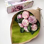 Цветы и флористика handmade. Livemaster - original item Bouquet of peonies from a bar of soap. Handmade.