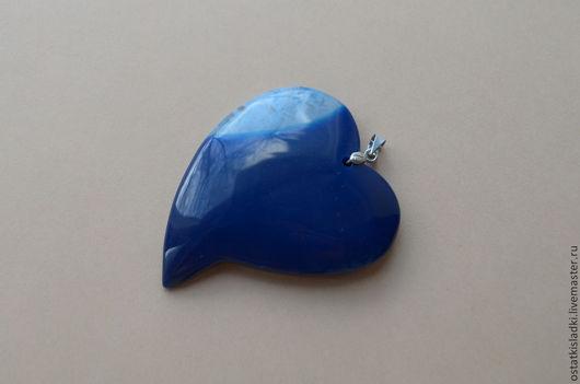 """Для украшений ручной работы. Ярмарка Мастеров - ручная работа. Купить Агат синий, """"Сердце"""", с голубой друзой. Handmade."""