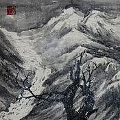 Картины и панно ручной работы. Ярмарка Мастеров - ручная работа картина В облачном краю(китайская живопись пейзаж зима горы дерево). Handmade.