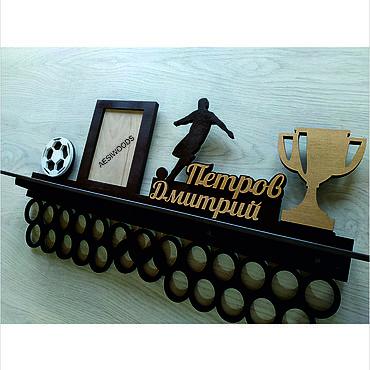 Для дома и интерьера ручной работы. Ярмарка Мастеров - ручная работа Медальница с полкой для кубков футбол. Handmade.