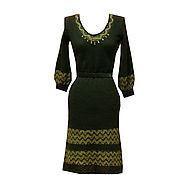 Одежда ручной работы. Ярмарка Мастеров - ручная работа Чёрное вязаное платье с золотом  из мохера. Handmade.