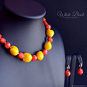Украшения handmade. Livemaster - original item Necklace and earrings coral, Kukui nut, gold-plated