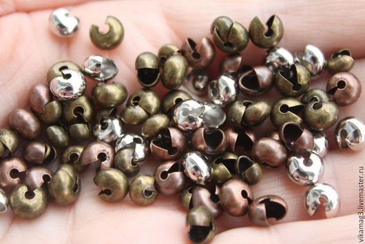 Для украшений ручной работы. Ярмарка Мастеров - ручная работа. Купить Крупные обжимные бусины, 7 мм, бронза, серебро  и  медь. Handmade.