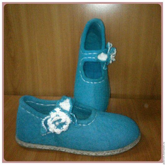 """Обувь ручной работы. Ярмарка Мастеров - ручная работа. Купить Туфли женские """"Осенний вальс"""". Handmade. Бирюзовый, валяная обувь"""