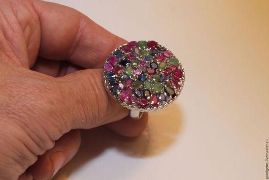 Кольца ручной работы. Ярмарка Мастеров - ручная работа. Купить серебряное кольцо с изумрудом и сапфиром Колорит. Handmade. Комбинированный, сапфир