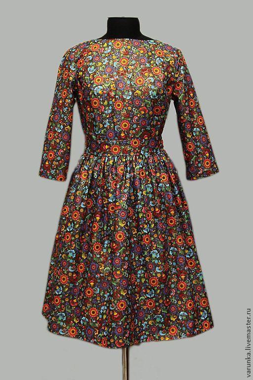 """Платья ручной работы. Ярмарка Мастеров - ручная работа. Купить Платье """"Хохлома"""". Handmade. Цветочный, Платье в цветочек, винтаж, хлопок"""