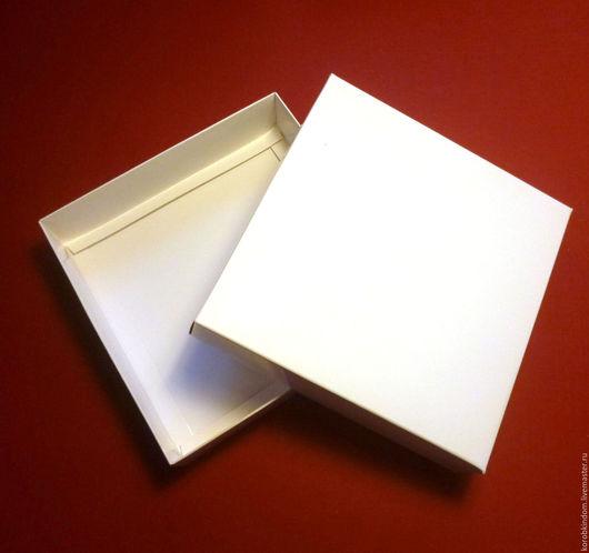 """Упаковка ручной работы. Ярмарка Мастеров - ручная работа. Купить Коробочка 13х13х3 """"крышка-дно"""" - белый мелованный картон, внутри тоже. Handmade."""