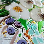 """Картины и панно ручной работы. Ярмарка Мастеров - ручная работа Картина из стекла """"Букет с орхидеями"""", 54х24 см, фьюзинг. Handmade."""
