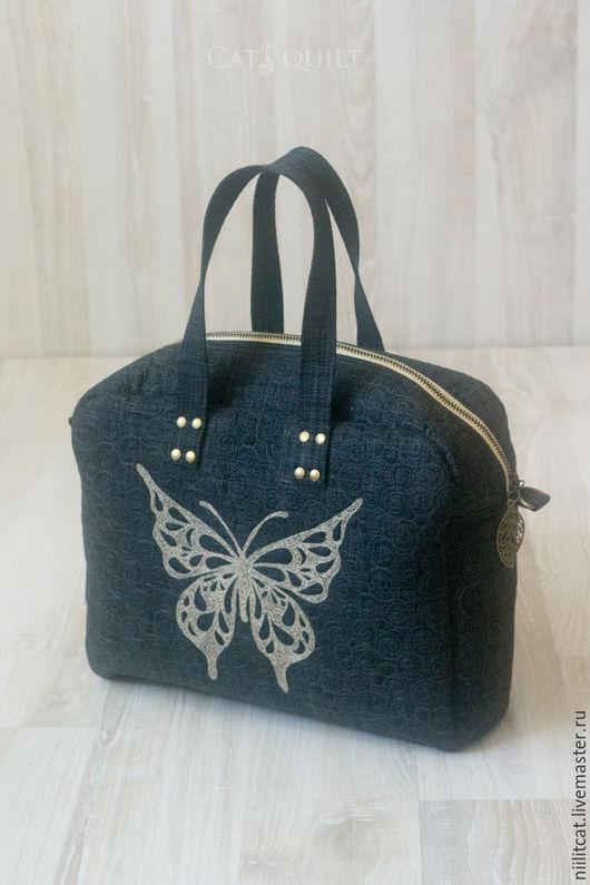 """Женские сумки ручной работы. Ярмарка Мастеров - ручная работа. Купить Маленькая сумочка """"Butterfly"""" , темно-серая. Handmade. сумочка"""