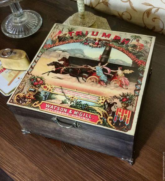 """Подарки для мужчин, ручной работы. Ярмарка Мастеров - ручная работа. Купить Шкатулка хьюмидор """"Колесница"""". Handmade. Коричневый, табачный"""