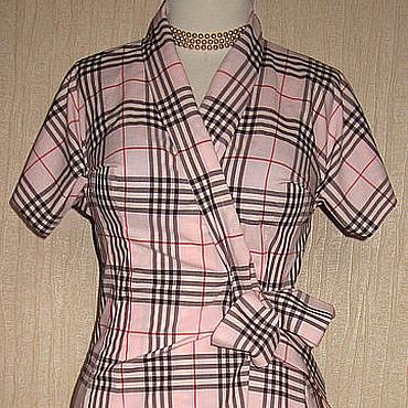Одежда ручной работы. Ярмарка Мастеров - ручная работа Платье в клетку Burberry жемчужно-розовое, лёгкое, из хлопка. Handmade.