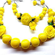 Украшения handmade. Livemaster - original item Set Yellow roses lampwork. Handmade.