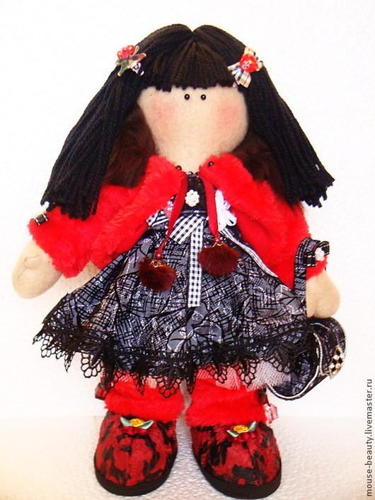 Куклы тыквоголовки ручной работы. Ярмарка Мастеров - ручная работа. Купить кукла в красной шубке. Handmade. Ярко-красный