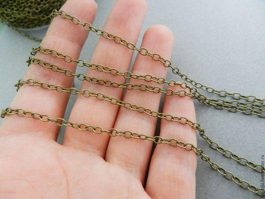 Цепочка тонкая, размер звена 3*4 мм , цвет бронза (латунь), толщина проволоки 0,6 мм . Звенья запаяны! Материал - латунь. (арт. 1849)