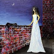 """Картины и панно ручной работы. Ярмарка Мастеров - ручная работа """"Раздумья о полете. Девушка и кошка. Ночь и луна."""", картина масло. Handmade."""