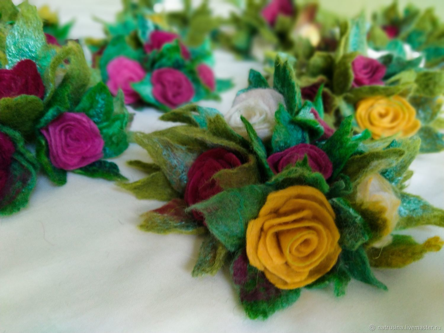 Flowers felted. Rose wool. Felted roses, Flowers, Moscow,  Фото №1