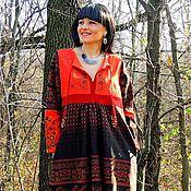 Одежда ручной работы. Ярмарка Мастеров - ручная работа Зимнее БОХО платье с вышивкой (№208). Handmade.