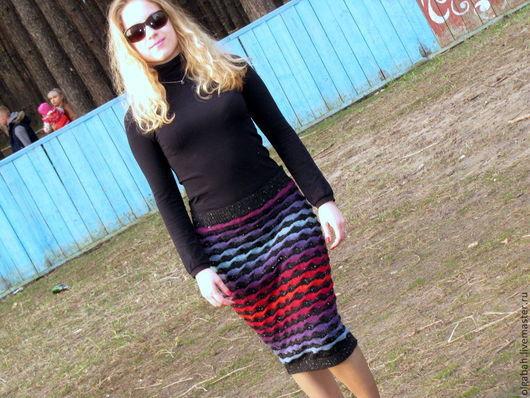 Юбки ручной работы. Ярмарка Мастеров - ручная работа. Купить юбка -радуга. Handmade. Юбка вязаная