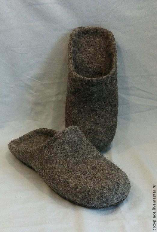 Обувь ручной работы. Ярмарка Мастеров - ручная работа. Купить Тапочки валяные мужские. Handmade. Серый, тапочки из войлока