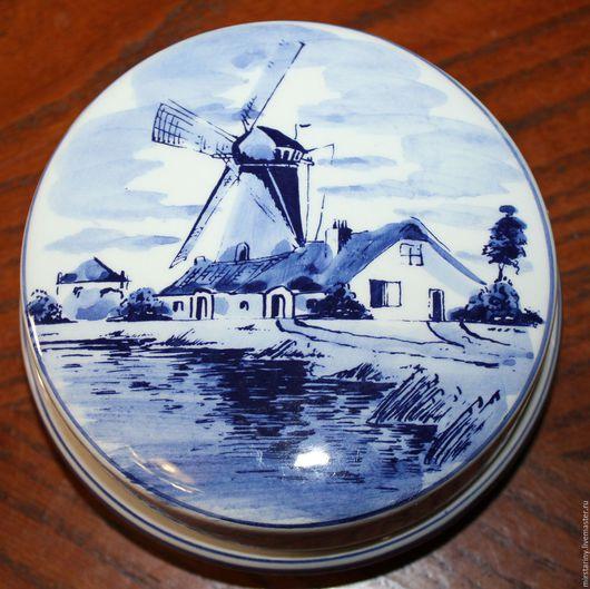 Винтажные предметы интерьера. Ярмарка Мастеров - ручная работа. Купить Винтажная, фарфоровая шкатулка, ручная роспись, 100% Delft , Голландия. Handmade.