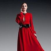 Одежда ручной работы. Ярмарка Мастеров - ручная работа Платье красного цвета в пол. Handmade.