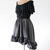 Одежда ручной работы. Ярмарка Мастеров - ручная работа Юбка в полоску пышная до колена черная юбка готический. Handmade.