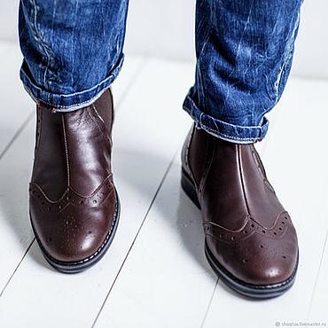 Обувь ручной работы. Ярмарка Мастеров - ручная работа Мужские перфорированные челси Chaqrua. Handmade.