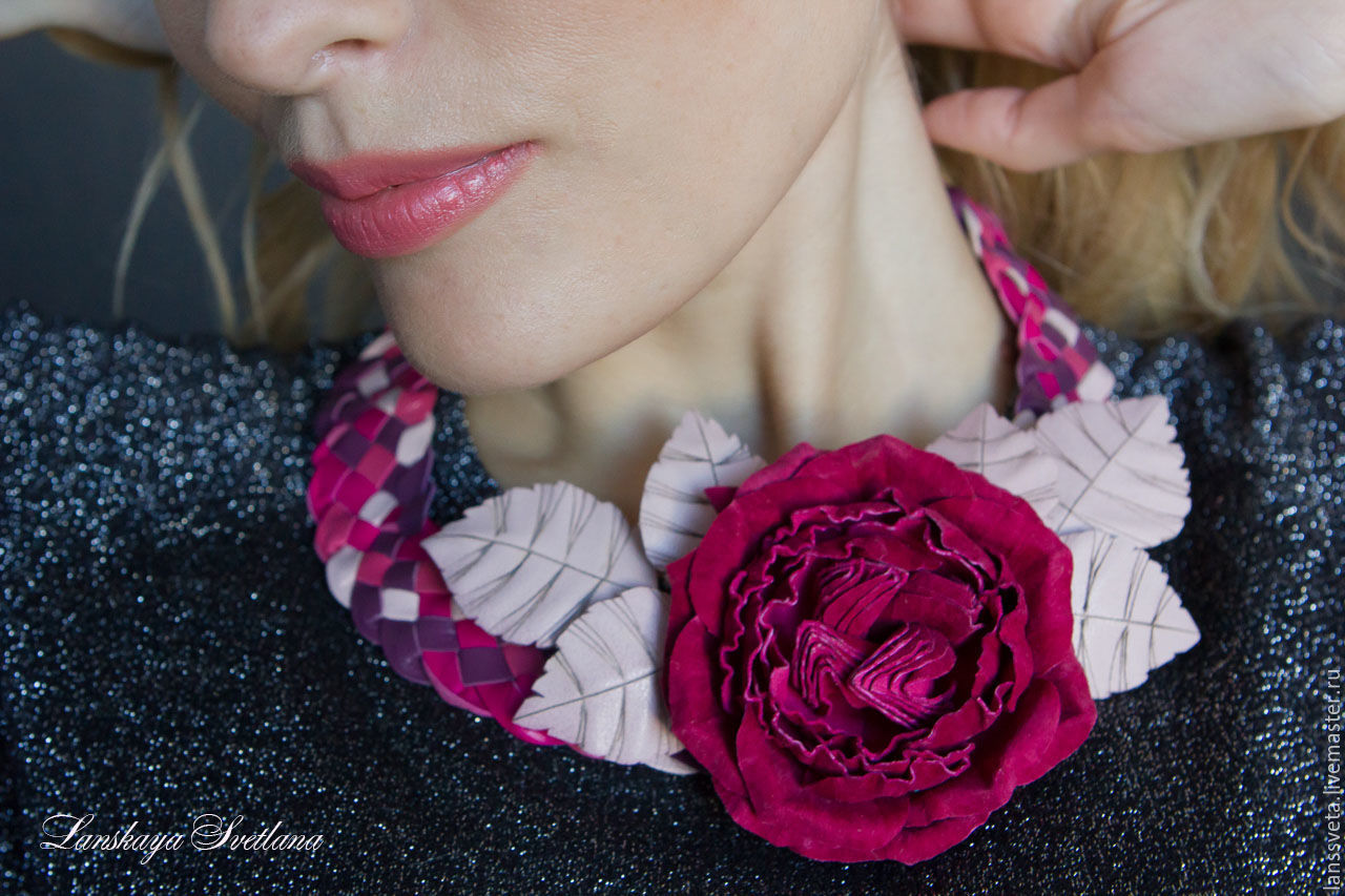 Necklace and brooch from the skin of the Berry mix. Brooch leather ROSE, Necklace, Bobruisk,  Фото №1