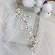 Свадебный салон handmade. Livemaster - original item Voluminous wedding sprig in a hairstyle with pearls. Handmade.