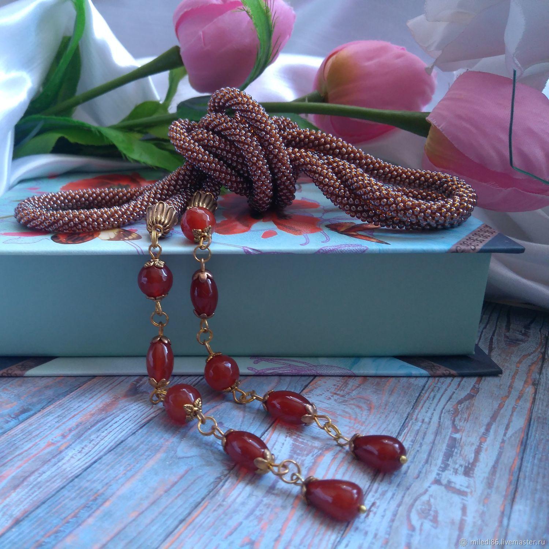 Lariat from Czech seed beads 'Honey', Lariats, Kaliningrad,  Фото №1