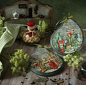 Посуда handmade. Livemaster - original item Cutting Board the mood of the Country. Decoupage. Handmade.