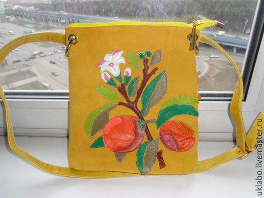 Женские сумки ручной работы. Ярмарка Мастеров - ручная работа. Купить -% Сумочка планшет из натуральной кожи и замши. Апельсины. Handmade.