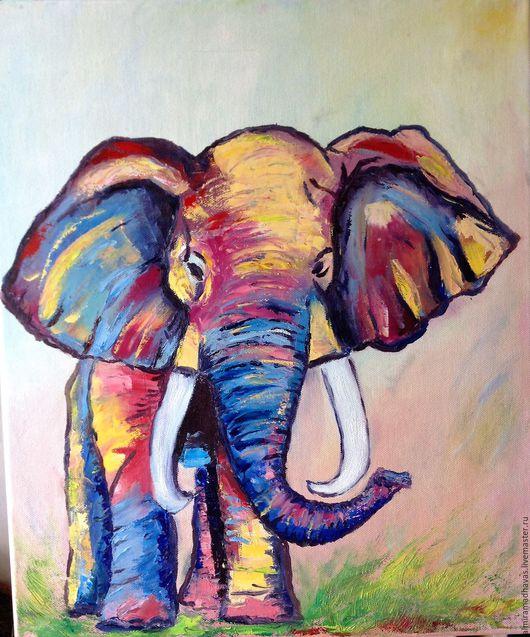 Животные ручной работы. Ярмарка Мастеров - ручная работа. Купить Счастливый слон. Handmade. Комбинированный, желтый красный синий