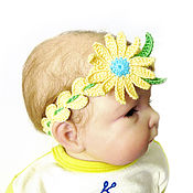 Работы для детей, handmade. Livemaster - original item headband for girls knit headband with flower. Handmade.