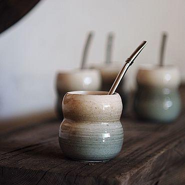 Посуда ручной работы. Ярмарка Мастеров - ручная работа Керамический калабас Шепот прибоя + бомбилья. Handmade.