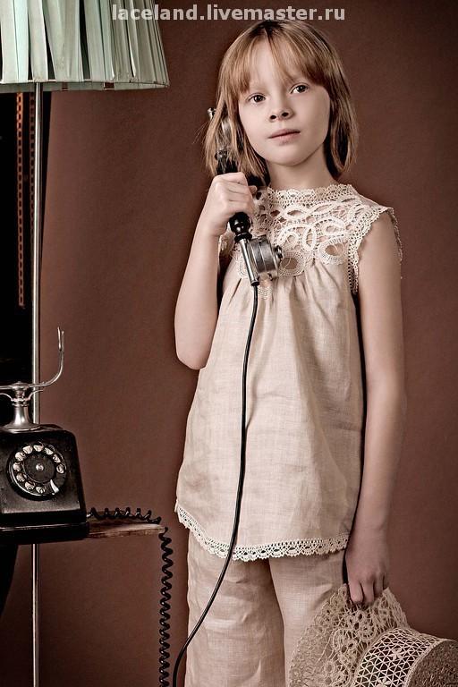 """Одежда для девочек, ручной работы. Ярмарка Мастеров - ручная работа. Купить Комплект детский  """"Элегия"""". Handmade. Детская одежда, бежевый"""
