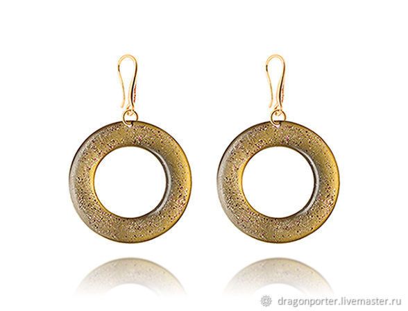 Round earrings in gold for her 'Goddess', Earrings, Moscow,  Фото №1