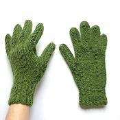Аксессуары ручной работы. Ярмарка Мастеров - ручная работа Женские зеленые перчатки из альпаки. Handmade.