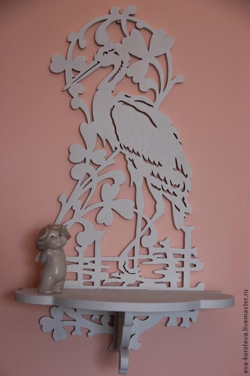 Мебель ручной работы. Ярмарка Мастеров - ручная работа. Купить Полка аист. Handmade. Белый, фанера 10 мм